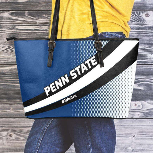 Designs by MyUtopia Shout Out:#WeAre Penn State Fan Faux Leather Totebag Purse,Medium (10 T x 16 x 5) / Blue/White/Black,tote bag purse