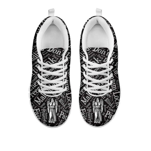 Designs by MyUtopia Shout Out:Weeping Angel - Women's Running Shoes,Womens White Sole Sneakers / Womens US5 (EU35) / Black/White,Running Shoes