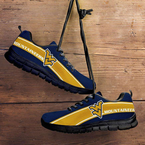 Designs by MyUtopia Shout Out:West Virginia Mountaineers Fan Art Running Shoes,Child 11 (EU28) / Blue/Gold,Running Shoes