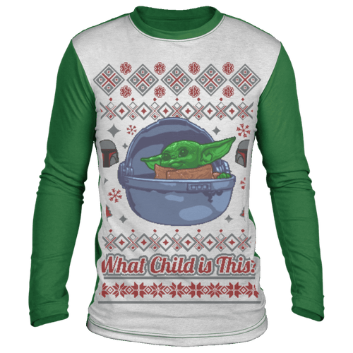 Designs by MyUtopia Shout Out:What Child is This? inspired by Baby Yoda Ugly Christmas Sweater Design Long Sleeve T-Shirt,White/Green / S,Long Sleeve T-Shirts