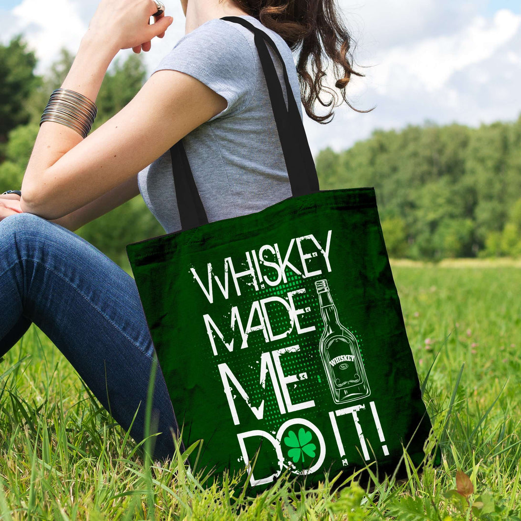 Designs by MyUtopia Shout Out:Whiskey Made Me Do It Fabric Totebag Reusable Shopping Tote