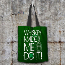 Load image into Gallery viewer, Designs by MyUtopia Shout Out:Whiskey Made Me Do It Fabric Totebag Reusable Shopping Tote,Dark Green,Reusable Fabric Shopping Tote Bag