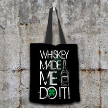 Load image into Gallery viewer, Designs by MyUtopia Shout Out:Whiskey Made Me Do It Fabric Totebag Reusable Shopping Tote,Black,Reusable Fabric Shopping Tote Bag