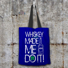 Load image into Gallery viewer, Designs by MyUtopia Shout Out:Whiskey Made Me Do It Fabric Totebag Reusable Shopping Tote,Navy,Reusable Fabric Shopping Tote Bag