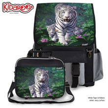 Load image into Gallery viewer, Designs by MyUtopia Shout Out:White Tiger Mom and Cubs Backpack and Lunchbox set,Black,Backpacks