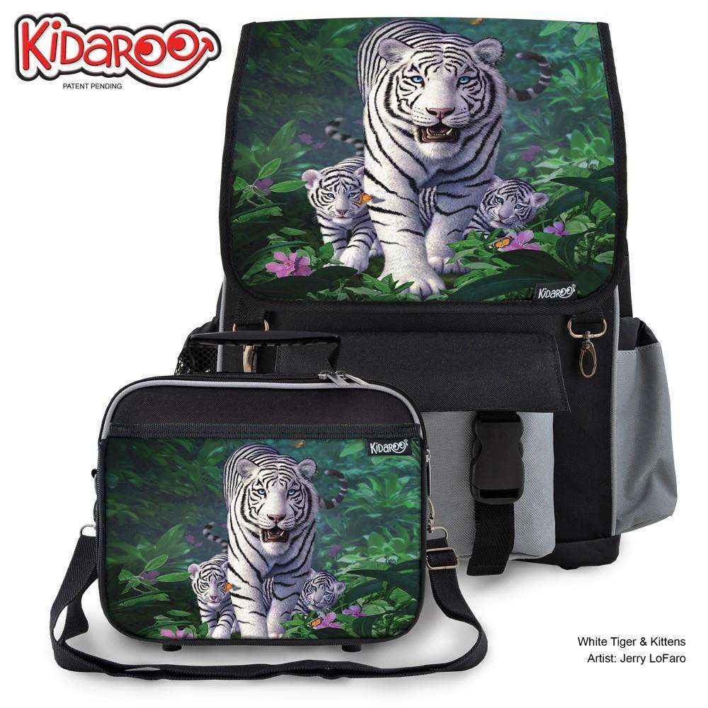 Designs by MyUtopia Shout Out:White Tiger Mom and Cubs Backpack and Lunchbox set,Black,Backpacks
