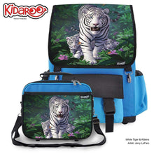 Load image into Gallery viewer, Designs by MyUtopia Shout Out:White Tiger Mom and Cubs Backpack and Lunchbox set,Blue,Backpacks