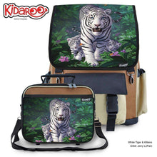 Load image into Gallery viewer, Designs by MyUtopia Shout Out:White Tiger Mom and Cubs Backpack and Lunchbox set,Brown,Backpacks