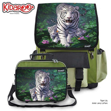 Load image into Gallery viewer, Designs by MyUtopia Shout Out:White Tiger Mom and Cubs Backpack and Lunchbox set,Khaki,Backpacks