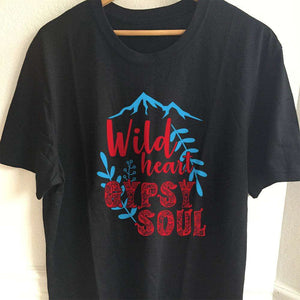 Designs by MyUtopia Shout Out:Wild Heart Gypsy Soul Adult Unisex T-Shirt,S / Black,Adult Unisex T-Shirt