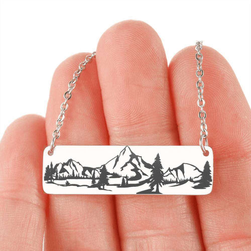 Designs by MyUtopia Shout Out:Wilderness Scene Engraved Personalized Horizontal Bar Necklace,316L Stainless Steel / No,Necklace