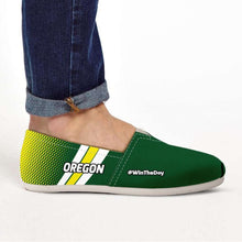 Load image into Gallery viewer, Designs by MyUtopia Shout Out:#WinTheDay Oregon Casual Canvas Slip on Shoes Women's Flats,US6 (EU36) / Green/Yellow,Slip on Flats