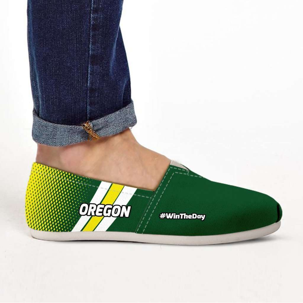 Designs by MyUtopia Shout Out:#WinTheDay Oregon Casual Canvas Slip on Shoes Women's Flats,US6 (EU36) / Green/Yellow,Slip on Flats