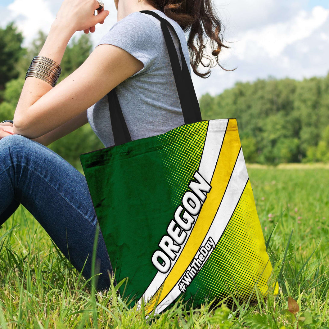 Designs by MyUtopia Shout Out:#WinTheDay Oregon Fan Fabric Totebag Reusable Shopping Tote