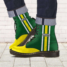 Load image into Gallery viewer, Designs by MyUtopia Shout Out:#WinTheDay Oregon Fan Faux Leather 7 Eye Lace-up Boots,Men's / Mens US5 (EU38) / Green/Yellow,Lace-up Boots