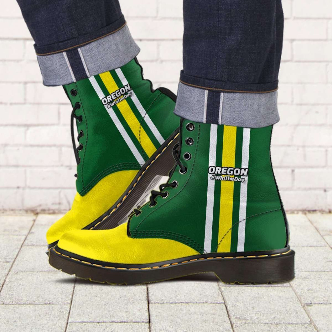 Designs by MyUtopia Shout Out:#WinTheDay Oregon Fan Faux Leather 7 Eye Lace-up Boots,Men's / Mens US5 (EU38) / Green/Yellow,Lace-up Boots