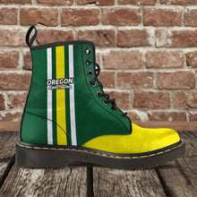 Load image into Gallery viewer, Designs by MyUtopia Shout Out:#WinTheDay Oregon Fan Faux Leather 7 Eye Lace-up Boots