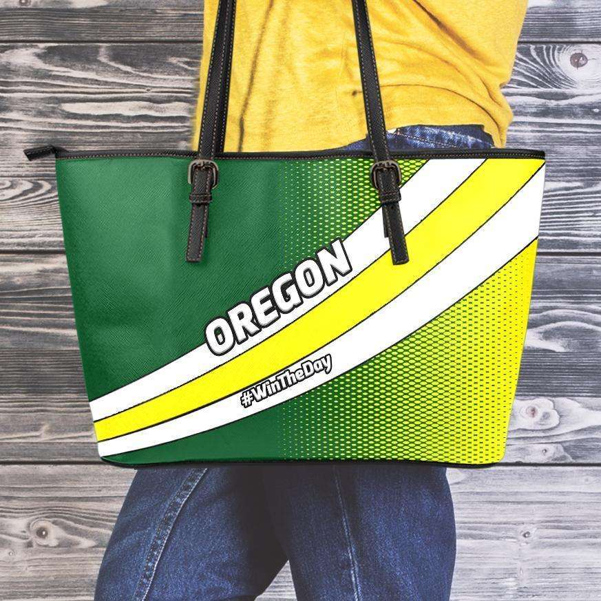 Designs by MyUtopia Shout Out:#WinTheDay Oregon Fan Faux Leather Totebag Purse,Medium (10 x 16 x 5) / Green/Yellow,tote bag purse