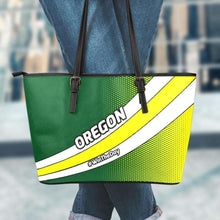 Load image into Gallery viewer, Designs by MyUtopia Shout Out:#WinTheDay Oregon Fan Faux Leather Totebag Purse,Large (11 x 17 x 6) / Green/Yellow,tote bag purse