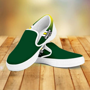 Designs by MyUtopia Shout Out:#WinTheDay Oregon Slip-on Shoes,Men's / Mens US8 (EU40) / Green,Slip on sneakers