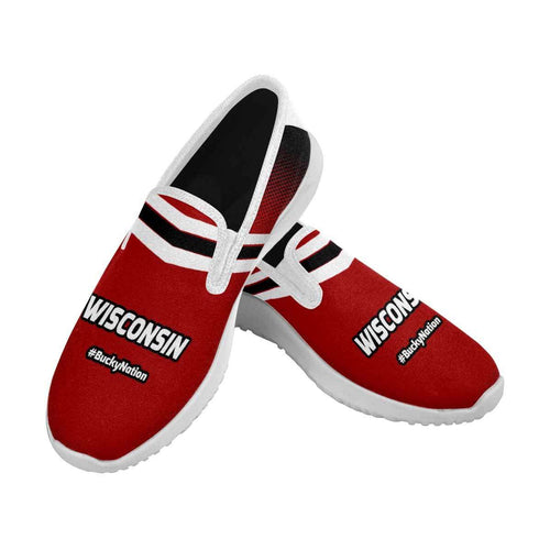 Designs by MyUtopia Shout Out:Wisconsin #BuckyNation Mens Slip-on Canvas Sneakers