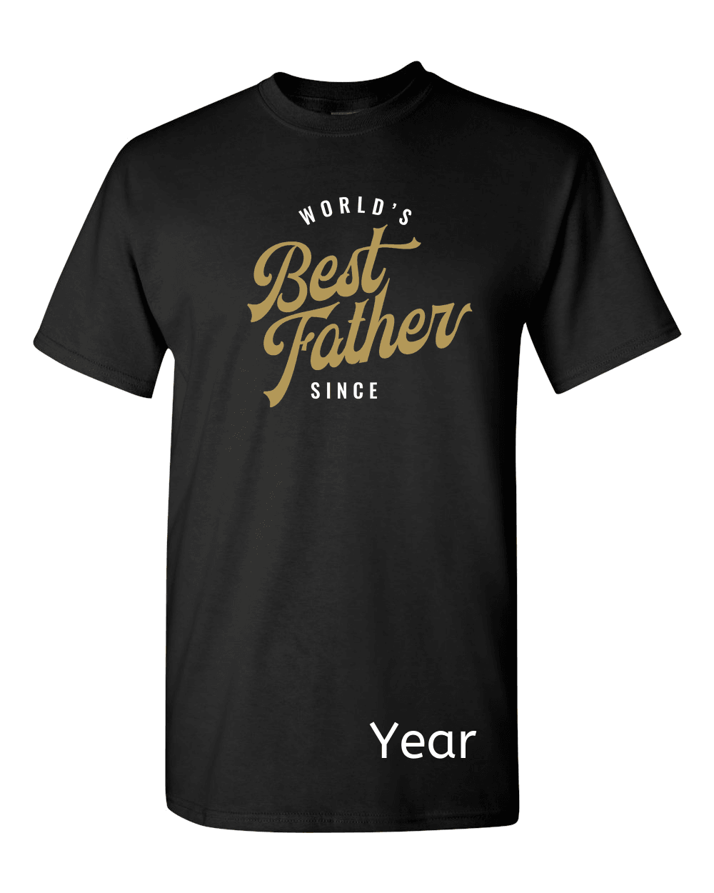 Designs by MyUtopia Shout Out:World's Best Father Since Personalized with Year Adult Unisex T-Shirt,Black / S,Adult Unisex T-Shirt
