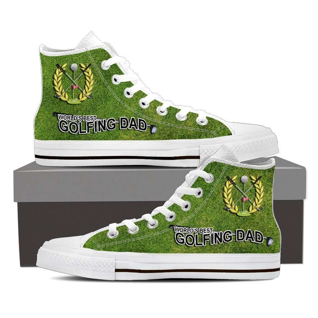Designs by MyUtopia Shout Out:World's Best Golfing Dad Canvas High Top Shoes Mens,Mens US 8 (EU40) / Green,High Top Sneakers