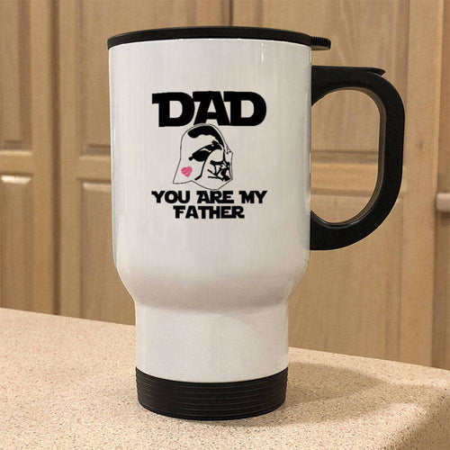Designs by MyUtopia Shout Out:You Are My Father Stainless Steel Travel Coffee Mug w. Twist Close Lid,14 oz / White,Travel Mug