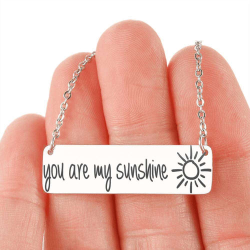 Designs by MyUtopia Shout Out:You are My Sunshine Engraved Personalized Horizontal Bar Necklace,316L Stainless Steel / No,Necklace