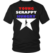 Load image into Gallery viewer, Designs by MyUtopia Shout Out:Young Scrappy Hungry Adult Unisex Cotton Short Sleeve T-Shirt,Short Sleeve Tee / Black / Small,Adult Unisex T-Shirt