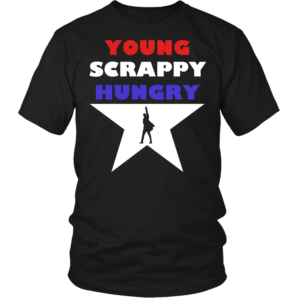 Designs by MyUtopia Shout Out:Young Scrappy Hungry Adult Unisex Cotton Short Sleeve T-Shirt,Short Sleeve Tee / Black / Small,Adult Unisex T-Shirt