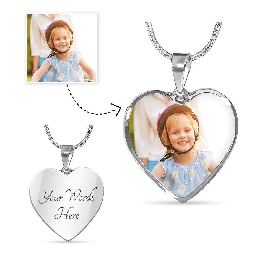 Designs by MyUtopia Shout Out:Your Photo Keepsake on our surgical steel Heart Charm with a shatterproof liquid glass coating Necklace,Luxury Necklace (Silver) / Yes,Necklace
