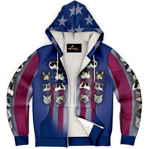Designs by MyUtopia Shout Out:Your Photos Here American Flag Micro-Fleece Zip Hooded Jacket,XS,Microfleece Ziphoodie - AOP