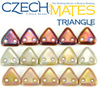 Glass 2 Hole Triangle Beads 6mm