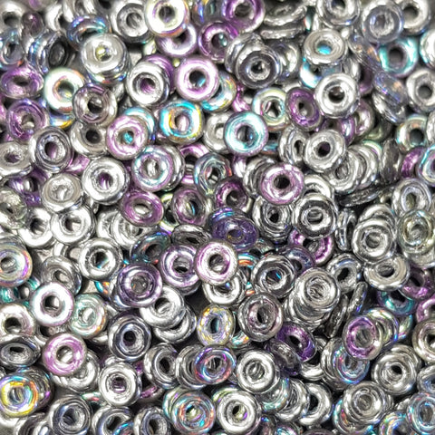Czech Glass O Bead Crystal Silver Rainbow