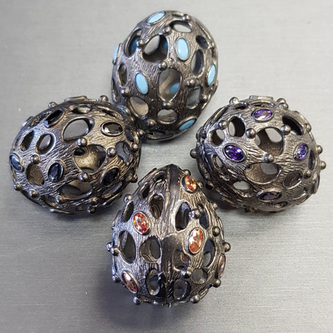 Bead - Open Egg w/ Crystal Brass w/Gunmetal Finish