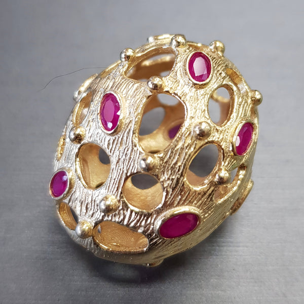 Bead - Open Egg w/ Crystal Brass w/Bright Gold Finish