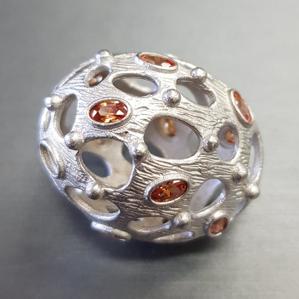 Bead - Open Egg w/ Crystal Brass w/Silver Plate