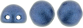 CzechMates 2-Hole Cabochon - Metallic Suede Blue