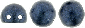 CzechMates 2-Hole Cabochon - Metallic Suede Dark Blue