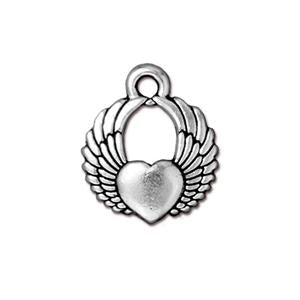 Winged Heart Charm Assorted Finishes