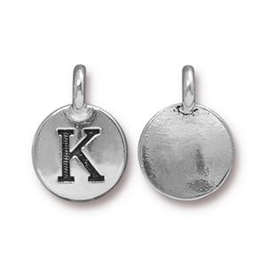 """K"" Charm Assorted Finishes"