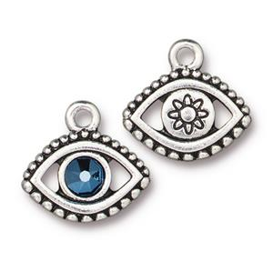 Evil Eye Charm Metallic Blue Assorted Finishes