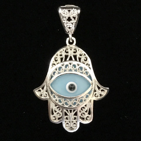 Pendant - Hamsa Sterling Silver with Turquoise Evil Eye
