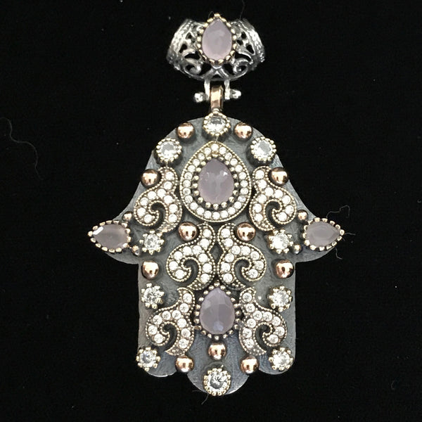 Pendant - Hamsa Sterling Silver, Crystal & Rose Quartz/Green Amethyst