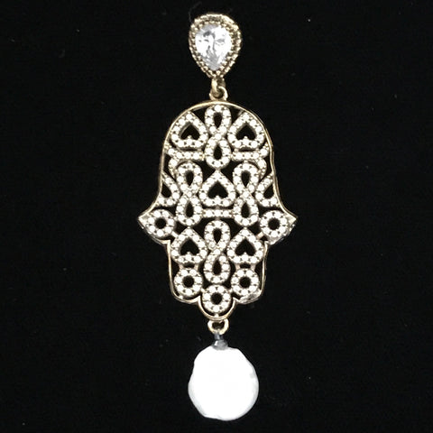 Pendant - Hamsa Hand Double Sided Crystal, Brass & Pearl