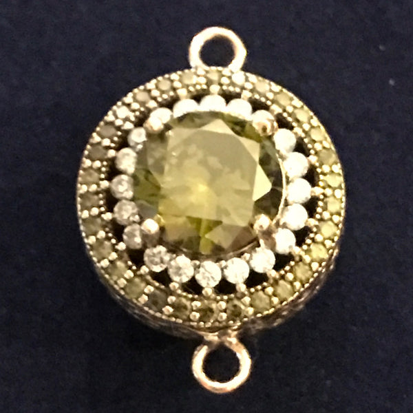 Connector - Double Sided Round Bead w/Crystal