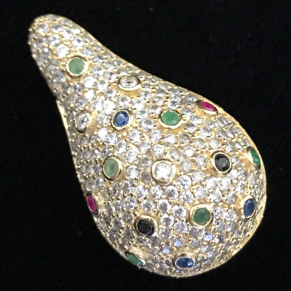Bead - Tear Drop Encrusted with Colorful Crystal on Clear Crystals