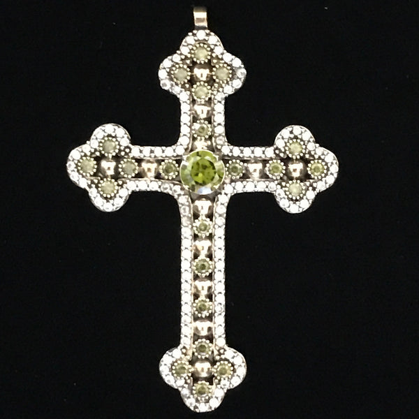 Pendant - Cross w/ Crystal, Sterling Silver & Brass