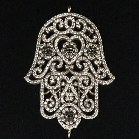 Connector - Hamsa Hand Brass & Crystal